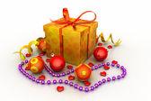 Christmas Gift Box with Shiny Balls — Stock Photo