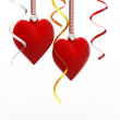 Two Love heart hanging, valentines day card concept — Stock Photo #46389901