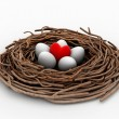 Red heart and eggs in a bird nest — Stock Photo #46389973