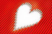 Lápices de colores rojos arreglan como corazón — Foto de Stock
