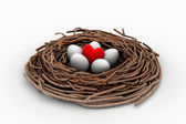 Red heart and eggs in a bird nest — Stock Photo