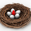 Red heart and eggs in a bird nest — Stock Photo #46390005