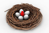 Red heart and eggs in a bird nest — 图库照片