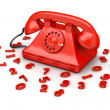 Red old-fashioned phone — Stock Photo