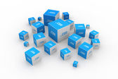 Dot com domain in cubes — Stock Photo