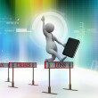 3d man jumping over a hurdle obstacle titled tax, crisis, loss — Stock Photo