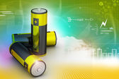 Batteries in color background — Stock Photo