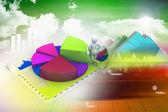 3d man with business charts — Foto de Stock