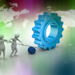 People moving gear in union, symbol of teamwork — Stock Photo #47662831