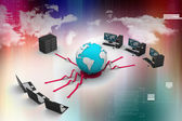 Laptop with big server and globe. 3D Image — Stock Photo