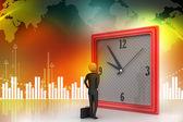 3d man watching the clock — Stock Photo