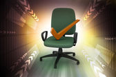 Right mark sitting comfortable computer chair — Stock Photo