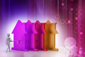 Hombre 3d tiene la clave y el icono de la casa — Foto de Stock