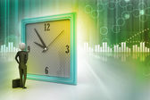 3d man watching the clock — Stockfoto