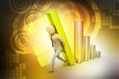 3d businessman carrying the big column of the diagram — Stock Photo