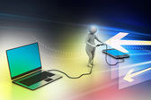 3d man connecting laptop and mobile — Stock Photo