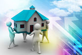 3D people holding a house — Stock Photo