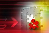 понятие финансов: риск на красный паззл — Стоковое фото
