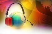 Headset mit weltkugel. konzept für online-chat — Stockfoto