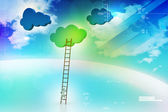 A competition concept, clouds with ladders — Zdjęcie stockowe