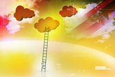A competition concept, clouds with ladders — Foto de Stock