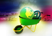 Wheelbarrow carrying earth and email sign — Stock Photo