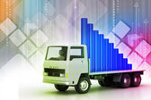 Transportation of business graph in truck — Stock Photo
