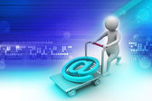 3d person with pushcart and e mail symbol — Stock Photo