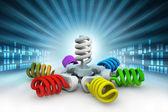 3d illustration of colorful light bulbs — Stock Photo