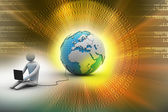 3d man sit near the globe with laptop — Stock Photo