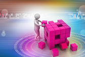 3d people - man, person pushing a cube — Stock Photo