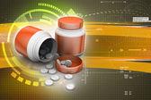 Pilules et flacon de médicament — Photo