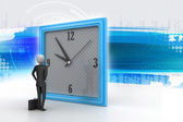 3d man watching the clock — Stock fotografie