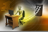 3d clerk working in the office — Stock Photo