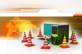 Computer with traffic sign — Stockfoto