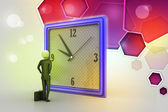3d man watching the clock — Stock Photo