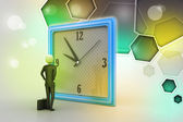 3d man watching the clock — Zdjęcie stockowe