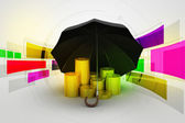 Gold coins under a black umbrella — Stock Photo