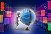 3d man analysing the globe — Stock Photo