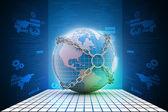 Earth globe close in chain — Stock Photo