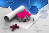 Plan met huis — Stockfoto