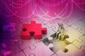 Homem com pedaço de quebra-cabeça — Fotografia Stock