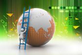 Earth globe and ladder — Stock Photo