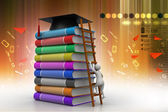 Graduation mortar on books — Stock Photo