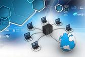 Ordenadores portátiles con gran servidor — Foto de Stock