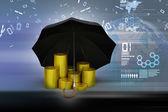 Gold coins under umbrella — Stock Photo