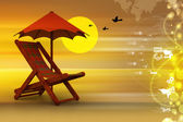 Chair with umbrella — Stock Photo