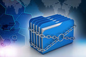 Folders locked by chains — Stock Photo