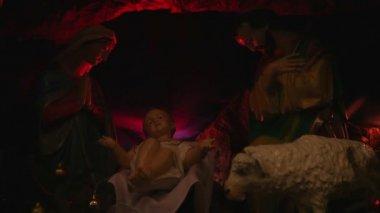 クリスマスのキリスト降誕のシーン — ストックビデオ