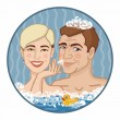 Stock Vector: Boy and girl in foamy water